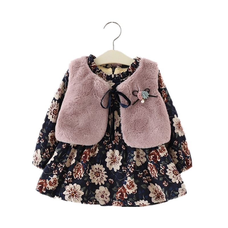 2018 Winter Floral Flannel Baby Girl Dress With Faux Fur Vest Long Sleeve O-neck Collar Kids Clothes Baby Party Princess Dresses floral slash neck vest page 1