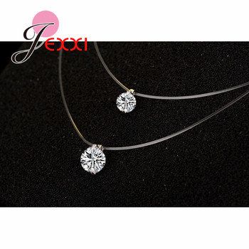 Discount Price 925 Sterling Silver Women Short Chain For Party Jewelry Clear Austrian Crystal Pendant Necklace Gift 3
