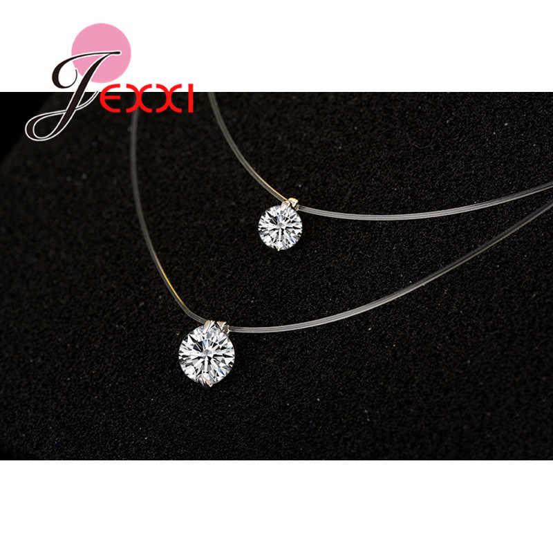 Prix Discount 925 en argent Sterling femmes chaîne courte pour bijoux de fête clair autrichien cristal pendentif collier cadeau