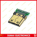 Бесплатная доставка 20 шт. HDMI штекер jack, микро мини 19pin мужской Разъем HDMI Разъем с PCB совета.