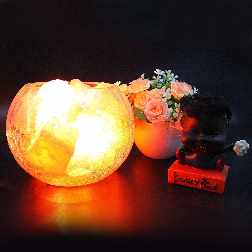 China red glass table lamp china glass table lamp - Himalayan Natural Crystal Salt Table Lamp Mineral Rock Light Dimmable Crackle Glass Ball Lampshade Air Purification