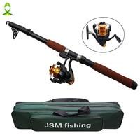 JSM 2.4m Fiberglass Telescope Baitcasting Fishing Rod And Reel Fly Fishing Casting Spinning Fishing Rod And Waterproof Bag Combo