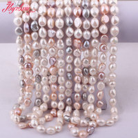 9 11mm Natural Freshwater Pearl Beads Freeform Shape Gem Stone Fashion Handwork Necklace 60 Not Button