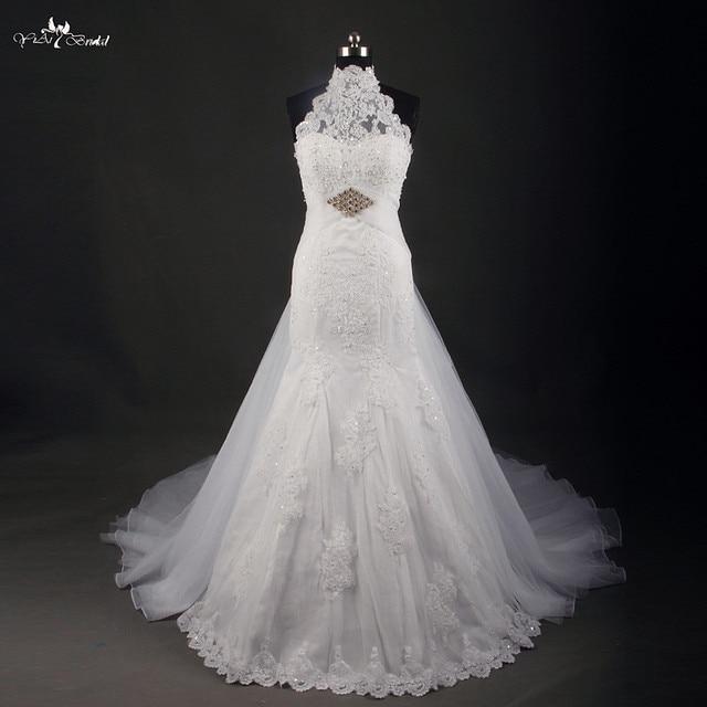 RSW748 Hot Sale Halter Neck Keyhole Back Mermaid Wedding Dress Removable  Skirt