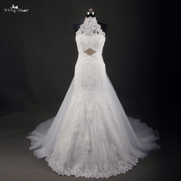 RSW748 Hot Sale Halter Neck White Lace Mermaid Wedding Dress Sexy Bridal Gown Custom Size With
