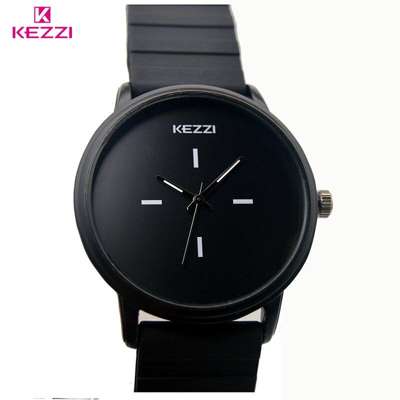 Kezzi Brand Classic Black White Silicone Watches Women Sport Quartz Watch Ladies Unisex Waterproof Watch Clock Relojer Feminino