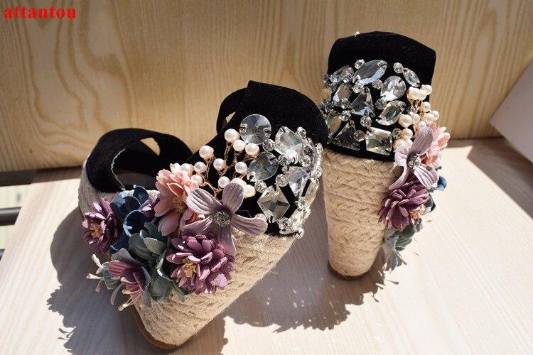 Здесь продается  Summer wedges black sandals bling bling colorful flower crystal decor peep toe platform heels women high heel sexy pumps female  Обувь