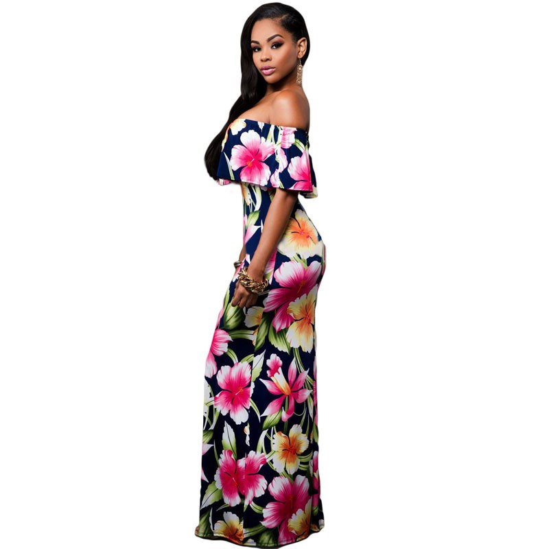 Zkess Tropical Print Dress Women Long Party Dresses 2017 Elegant Bohemia Dress Maxi Mermaid Gown Vestido de festa LC61189 22