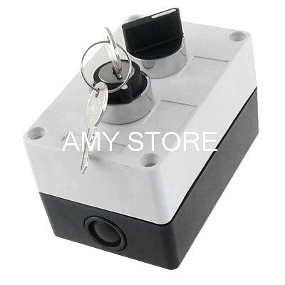 NO Normally Open 2 Position Key Lock Rotary Selector Select Switch Station Box 1 no 1 nc three 3 positon rotary selector select switch latching 22mm