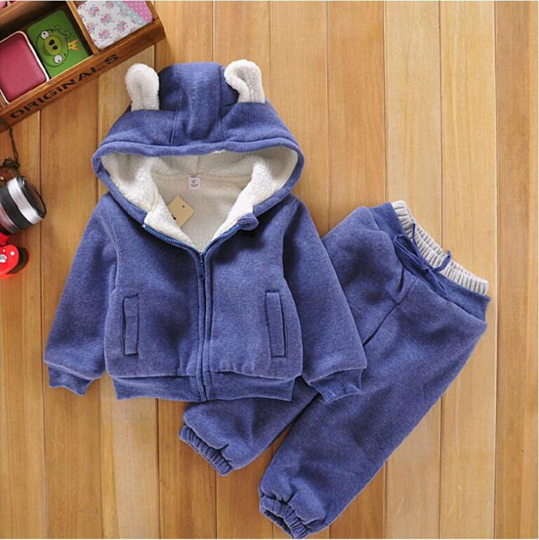 New 2016 baby boy Autumn Winter Children Girls berber Fleece Coats overalls Clothing Set Jacket Cotton