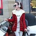 2016 Новая Зимняя Куртка Женщины С Капюшоном Хлопка-Ватник Зимой Средней Длины Хлопка Пальто Плюс Размер Женщина Тонкий женская Куртка Пальто