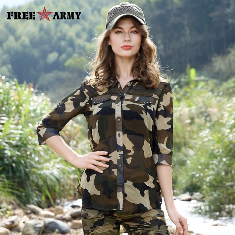 Free Army Women's Camouflage Chiffon Shirts Tops Tees  Five Sleeves Designer Fashion Casual Shirts Sexy Blouse Ladies GS-8592