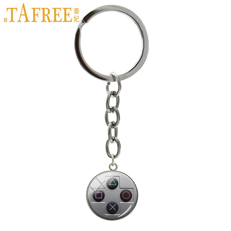 TAFREE Vintage Video Game Controller Key Chains Cool Men Gaming Gamer Jewelry Retro Controller Gamepad Key Picture Keychain T734