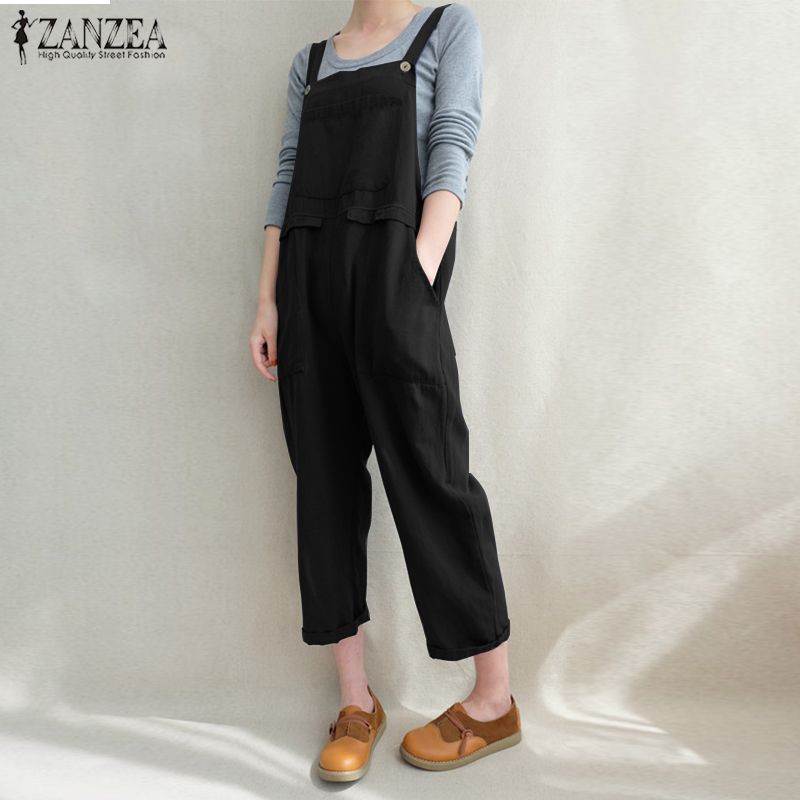 Plus Size2018 ZANZEA Women Strappy Pockets Cotton Linen Loose Dungarees Bib Overalls Solid   Jumpsuits   Casual Retro Baggy Rompers