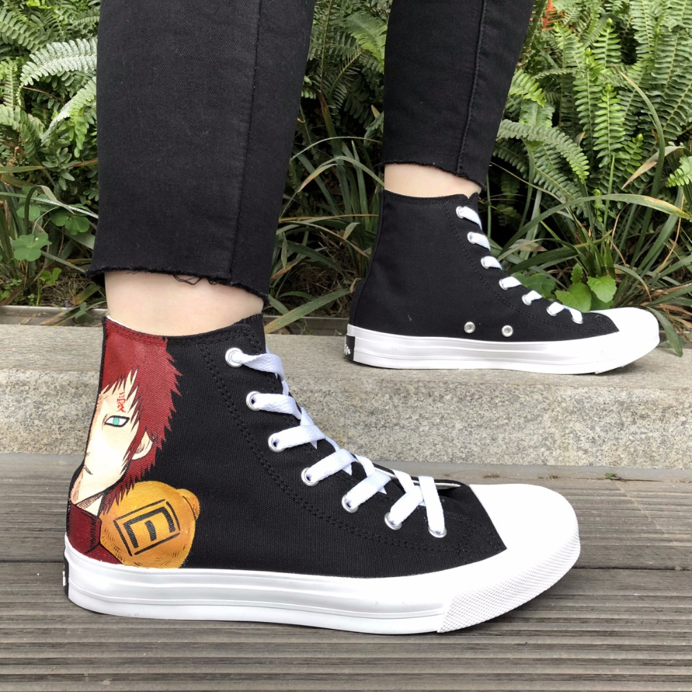 Wen Hand Painted High Top Black Shoes Design Anime Naruto Gaara Custom Canvas Sneakers for Men Boys Skateboarding Women Flattie