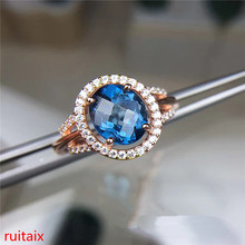 KJJEAXCMY fine jewelry  925 Sterling silver inlaid with blue topaz ring gold and silver color female. gold pendant with topaz and cubic zirkonia