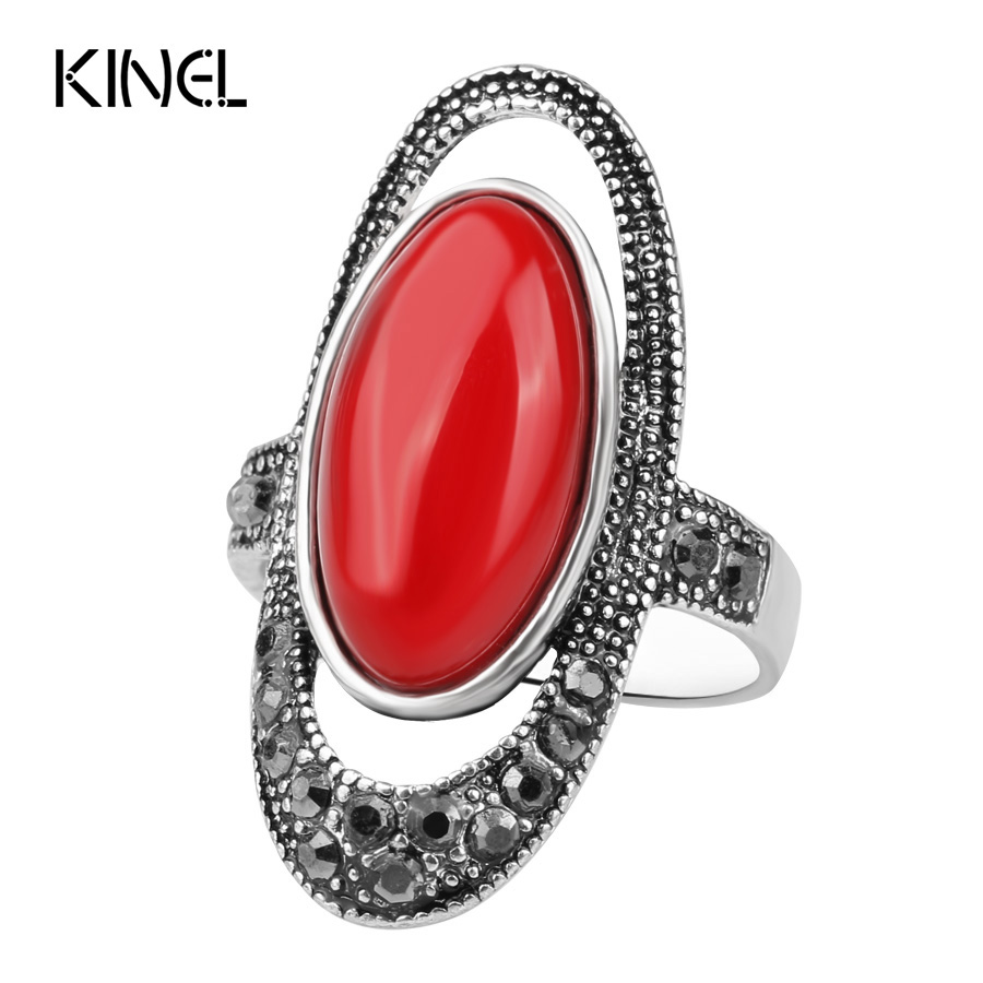 Size 6 Fashion Women Accessories 2017 New Fashion Retro Antique Silver Color Black Resin Mosaic Rhinestone Ring For Women