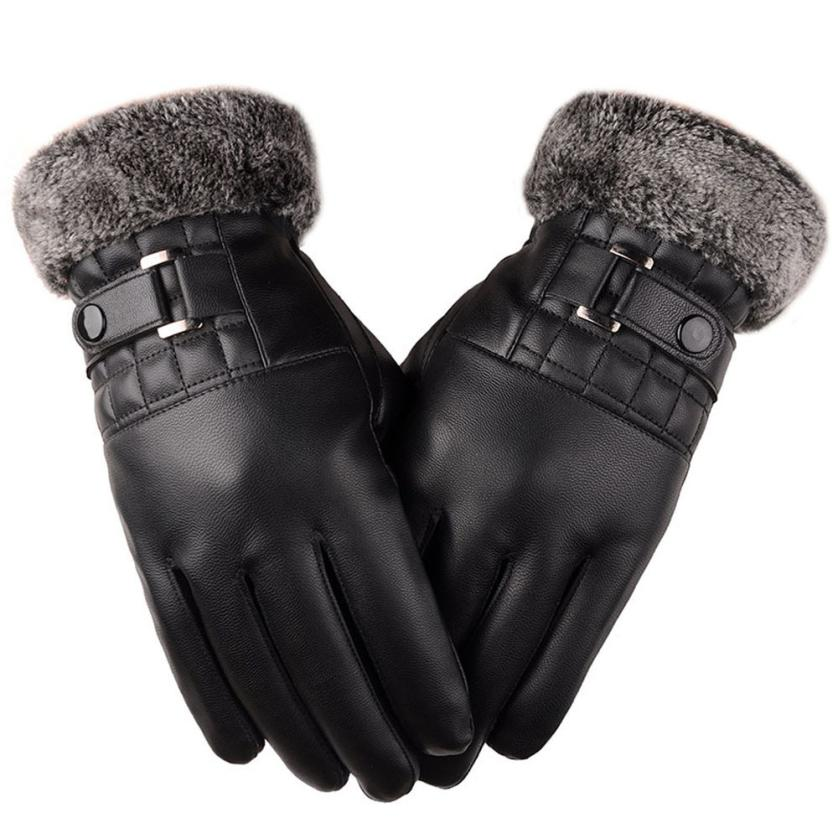 New Fashion Customized Gloves Men Winter Leather Driving Gloves Adults Motorcycle Ski Sn ...