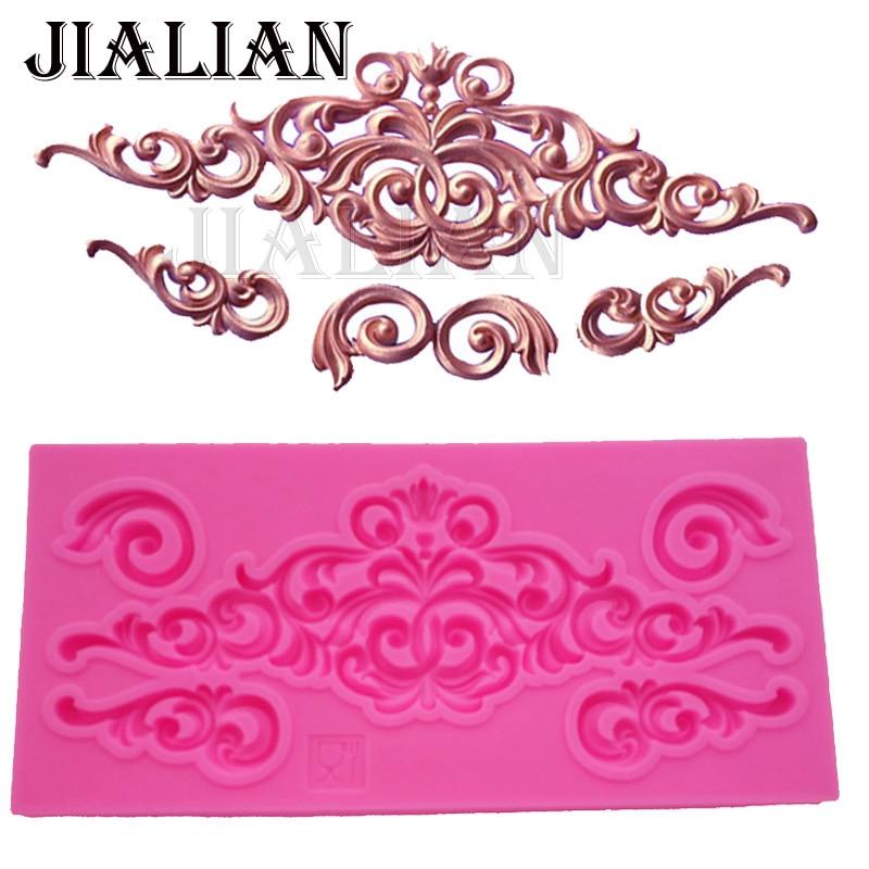 DIY lace pattern vine Border silicone mold cake decorating chocolate sugar decoration tools for cake turning edge T0881