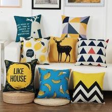 Geometric Decorative Throw Pillow Cover Case Yellow Banana Deer Animal Cotton Linen Cushion For Sofa Home Decor Pillowcase