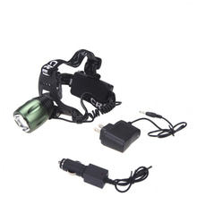 High Quality Green Headlamp T6 LED 4 Mode 2000 Lumens LED Headlight Torch Camping Cycling Torche Head Light + AC/Car Charger