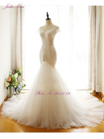 Mermaid Wedding Gown với Beaded V-neckline và Độc Đáo Appliques Ngà Wedding Dress Nặng Nề Xù Organza Trumpet Bridal Gown