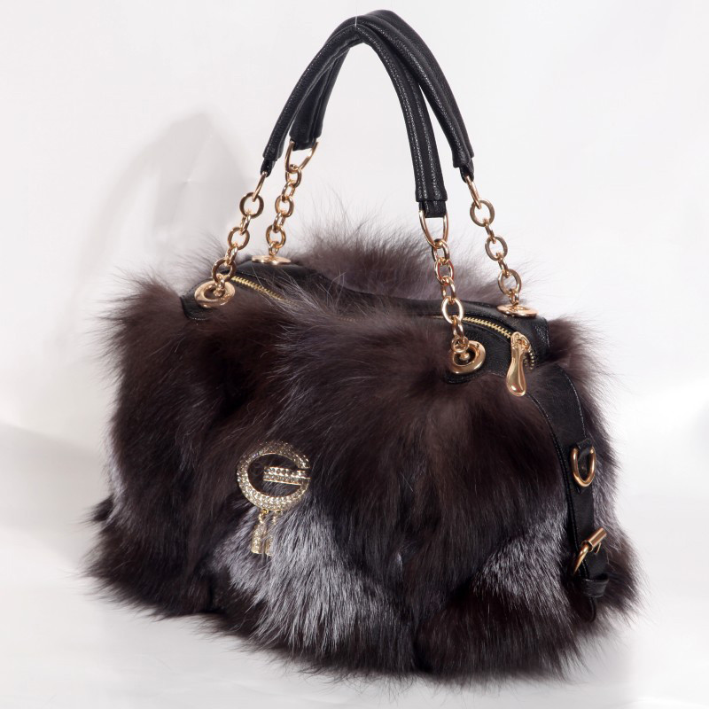 Real Fox Fur Bag Totes Handbag Brand Party Bag Women Ladies Hand Bags Luxury Designer Evening Bag Mink Fur Real Leather