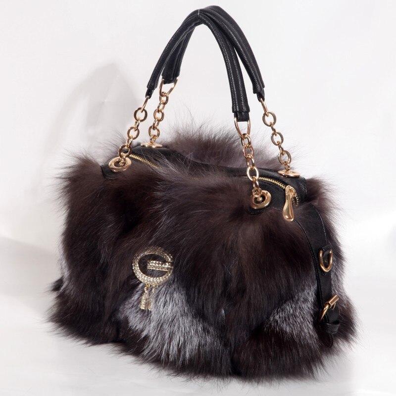 Real Fox Fur Bag Totes Handbag Brand Party Bag Women Ladies Hand Bags Luxury Designer Evening Bag Mink Fur Real Leather