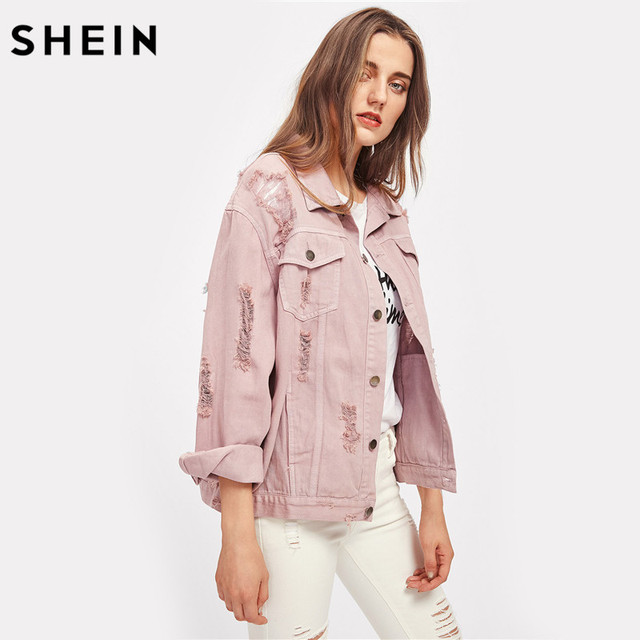 SHEIN Rips Detail Boyfriend Denim Jacket Autumn Womens Jackets and Coats Pink Lapel Single Breasted Casual Fall Jacket 4