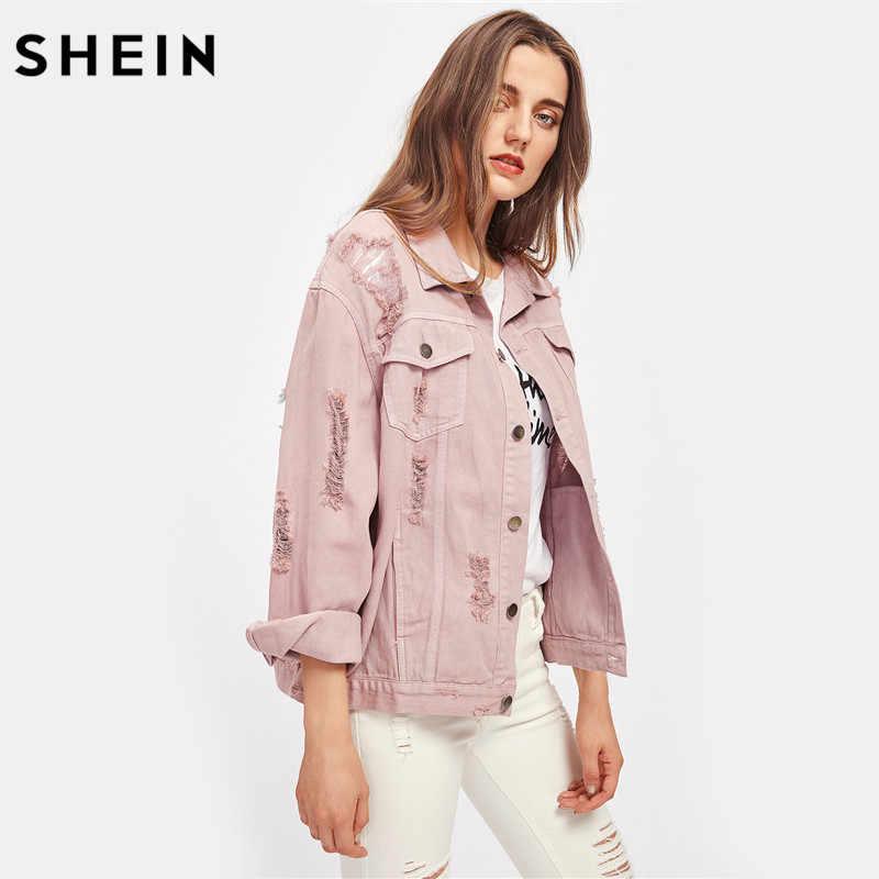 c54c5b4dd1 ... SHEIN Rips Detail Boyfriend Denim Jacket Autumn Womens Jackets and  Coats Pink Lapel Single Breasted Casual ...
