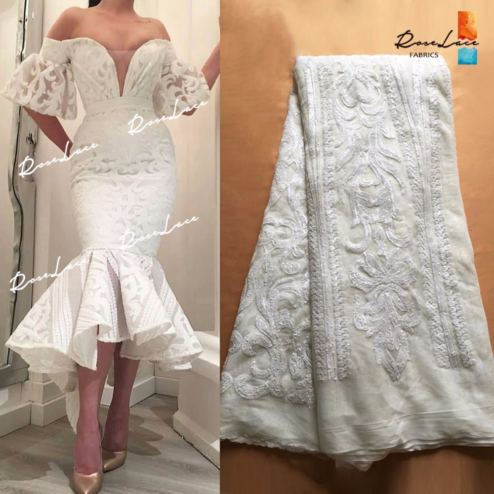 White Color Sequins Net Tulle Lace Fabric 2018 Latest High Quality Wedding Laces Nigeria Embroidery Mesh