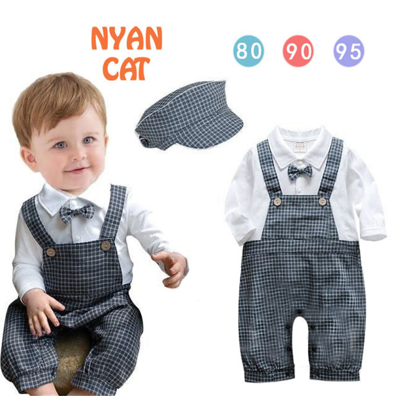 Baby rompers Spring Autumn baby boys plaid plaid full sleeve romper new born baby infant clothes newborn boys jumpsuit