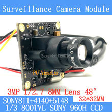 32*32mm Mini Surveillance camera 800TVL 1/3 Effio CCD Sony 811+4140+5148 CCTV camera module,3MP+8mm lens+BNC/OSDCable