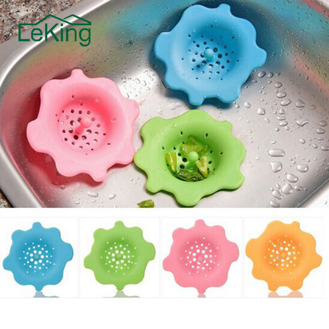 Leking Flower Shape Silicone Kitchen Sink Strainer Filter Round Sewer Drain Cover Stopper