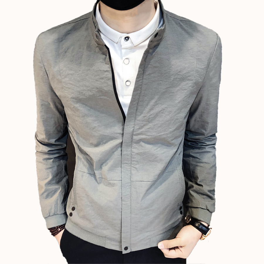 Short Korean Slim Fit Jacket Men Collar Spring Long Sleeve Zipper Men Jacket Pattern Business Jaqueta Masculino Outwear Men 5J15(China)