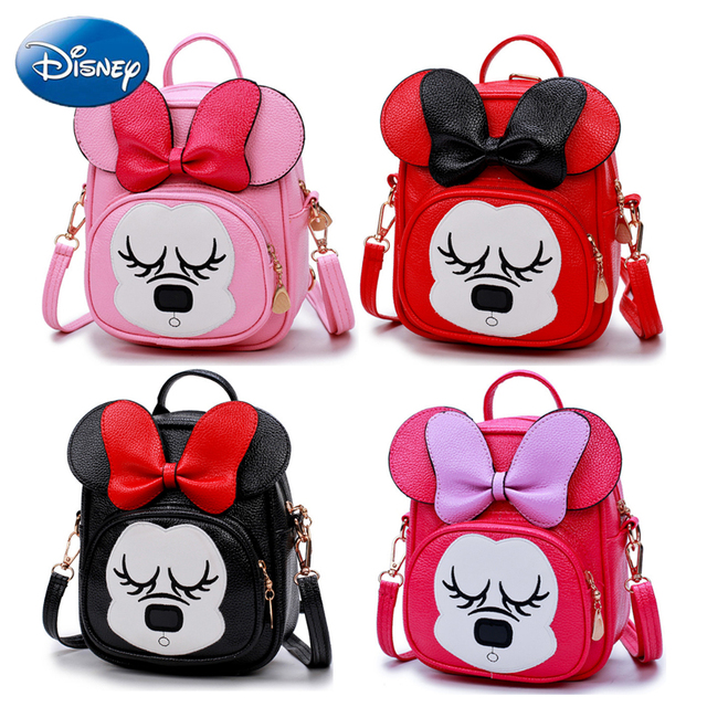 6d01f628a524 Disney Minnie Mouse Bowknot Backpack Girls School Bag Children Cute Kids PU  Cartoon Bags Lovely Shopping Cosmetic Bags