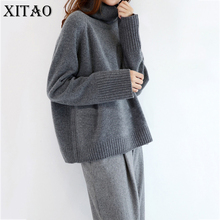 [XITAO] 2017 Autumn Winter Women Casual Thincken Solid Color Turtleneck Full Sleeve Knitting Pullover Oversize Sweaters KY442