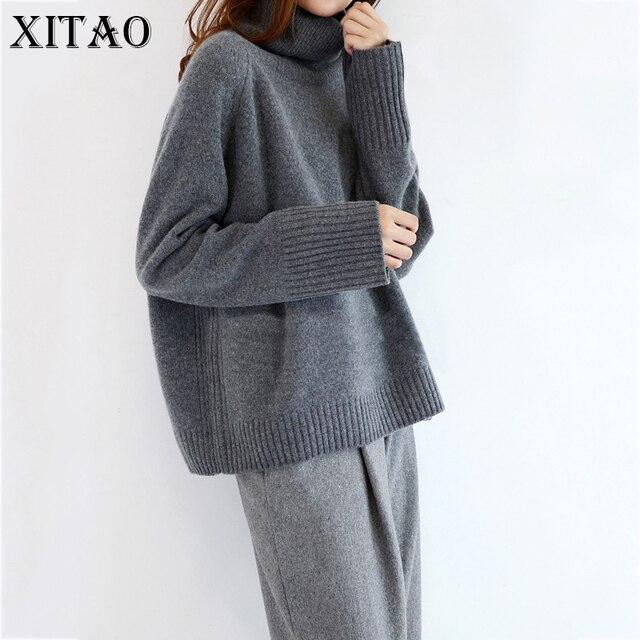 [Xitao] 2017 осень-зима Женская Повседневная Thincken одноцветное Цвет водолазка длинный рукав Вязание пуловер в стиле оверсайз Свитера KY442