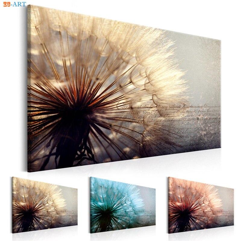 dandelion art print nature poster canvas painting wall art. Black Bedroom Furniture Sets. Home Design Ideas