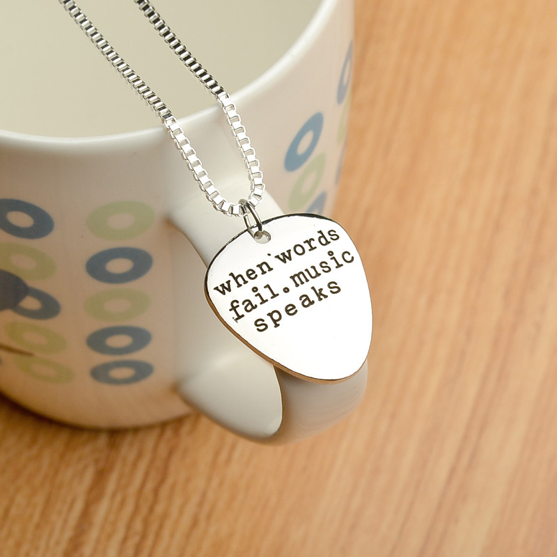 "High Quality Metal guitar pick pendant, inspirational words ""When Words Fail Music Speaks"" for fashionable men and women  gift"