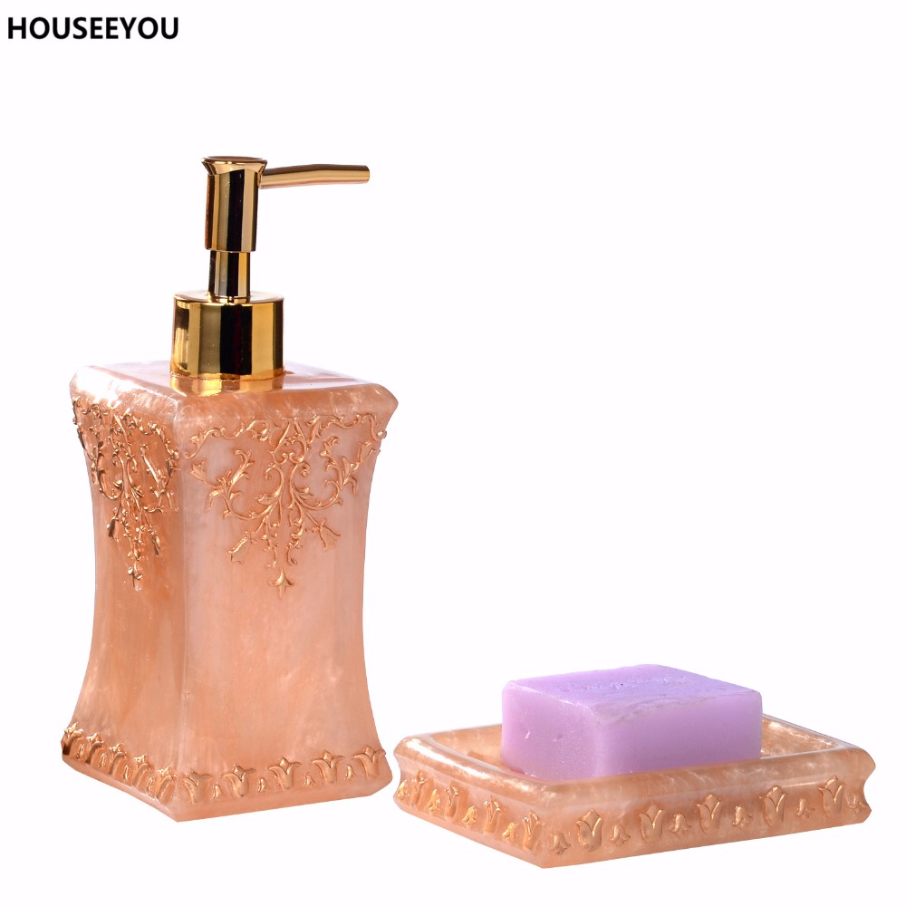Resin Classical Bathroom Accessories Set Luxurious Pearl Floral ...