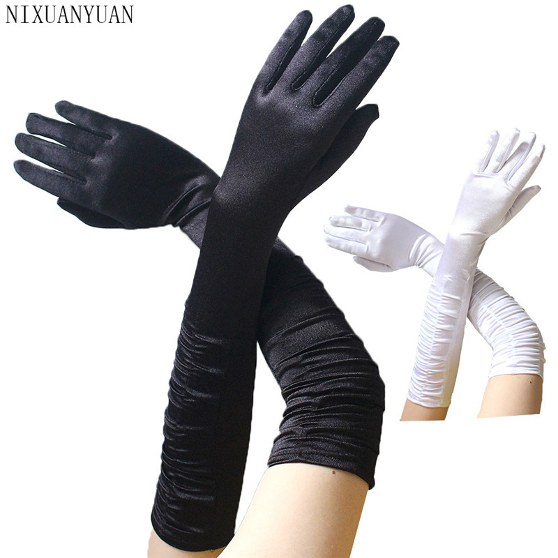 Elbow Length Bridal Gloves Wedding Satin Gloves Long Wedding Gloves For Bride Woman Dance Gloves Gant Dentelle