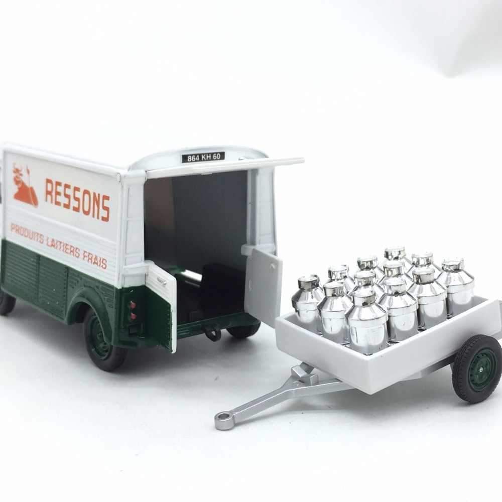 1/43 Rare Simulasi Klasik Citroen dengan Trailer Truk Pengiriman Susu Koleksi Mobil Model Alloy Die-Casting Mobil Mainan