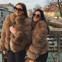 FURSARCAR abrigo de piel auténtica de zorro femenino con Collor de piel abrigo de cuero genuino de moda abrigo de invierno cálido de piel Real para mujer