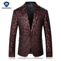 Slim Fit Stylish Men's Sequins Blazer Dull Red Paisley Floral Pattern Printed Suit Male Jacket Stage Costumes for Singers Jacket