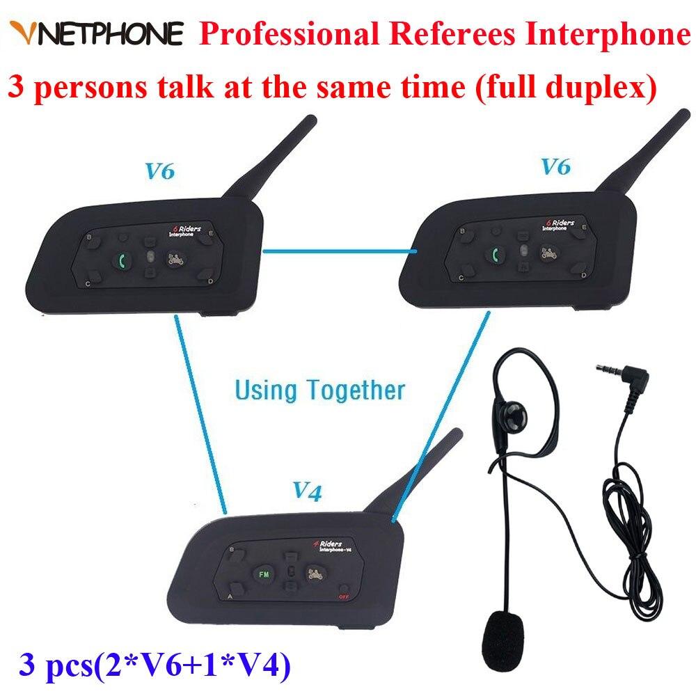 Vnetphone Brand 1200m full Duplex Communication Headset 3 Riders Talking For Football Referee Judge Biker Wireless