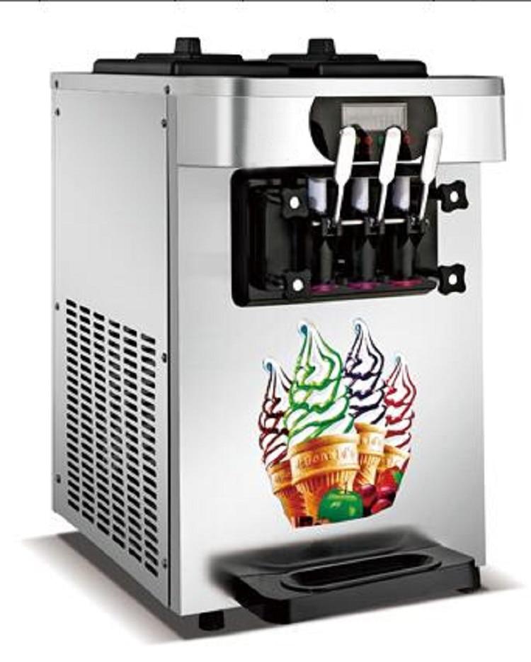Color plata automática máquina de helado suave de hacer hielo crema creador con bomba de aire precool R410A refrigerante