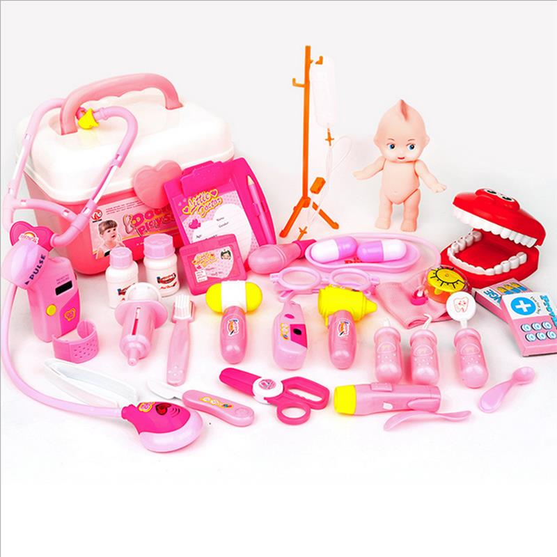 32 Pcs Pretend Doctor Toys Box Luxury Kids Simulation Medicine Doctor Toys Sets Funny Play Nurse Medical Kits For Children Pink