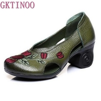 Handmade Embroidery Women High Heel Shoes Hollow Cowhide Genuine Leather Shoes Woman Fashion Shoes High Heels