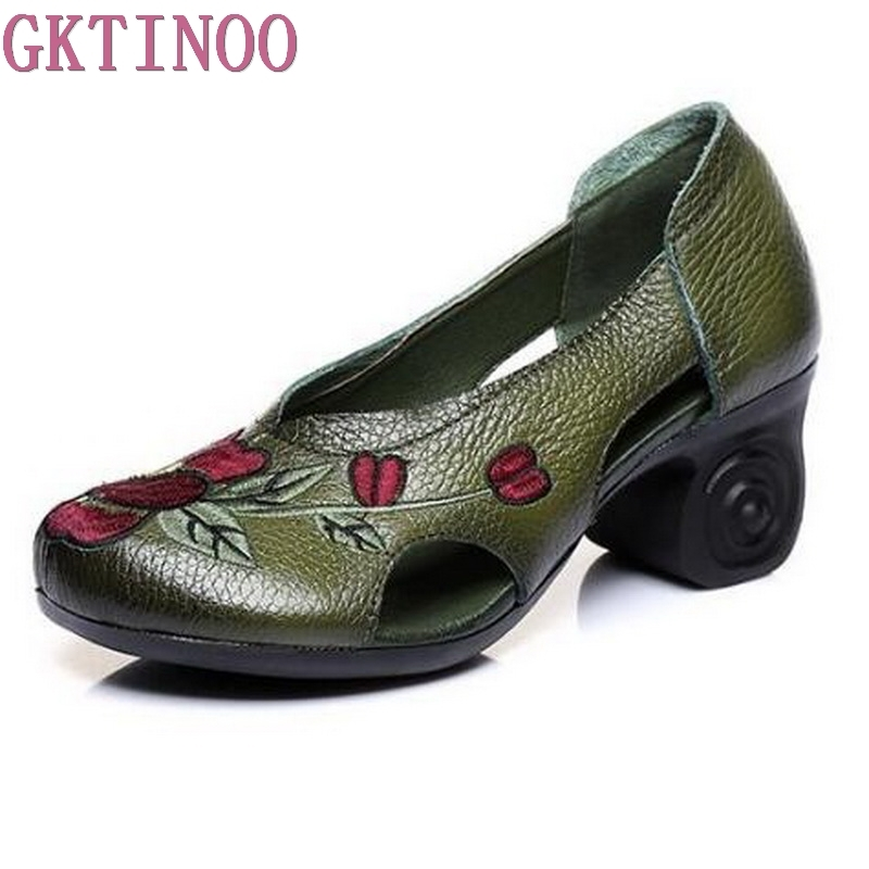 Handmade Embroidery Women High Heel Shoes Hollow Cowhide Genuine Leather Shoes Woman Fashion Shoes High Heels a three dimensional embroidery of flowers trees and fruits chinese embroidery handmade art design book